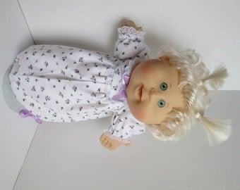 """14"""" Baby Cabbage Patch Lavender Flower Print Nightgown"""