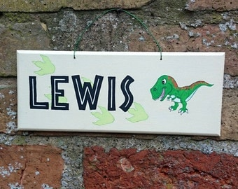 DINOSAUR Name Plaque Child's Wooden Sign Hand Painted T-Rex Room Sign Personalised Nursery Decor