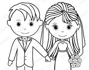 View Wedding coloring pages by SugarPieStudio on Etsy
