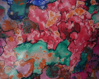 """Leather 12""""x12"""" Abstract LAVA Pink Turquoise Navy Orange Print on Wrinkled Texture COWHIDE  2.5 oz /1 mm  PeggySueAlso™ E2176-02"""