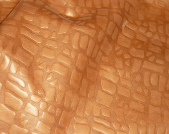 """Leather 8""""x10"""" Golden Topaz Pearlized GIRAFFE Cowhide embossed Leather Hide 2-2.5 oz / .8-1mm PeggySueAlso"""