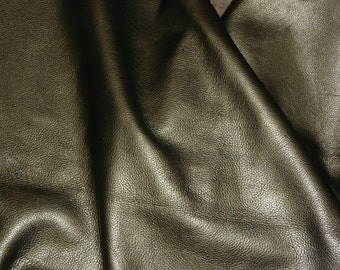 """Leather 12""""x12"""" Muted GOLD / Pewter Pearlized Soft Cowhide 3.5-4 oz/1.4-1.6 mm PeggySueAlso"""