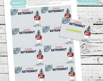Retro Rockets & Robots Outer Space Fillable and Printable ID Badges - INSTANT DOWNLOAD