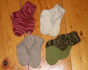 "Wool Baby Socks - 4"" Foot"