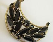 Crescent Moon Brooch Black Rhinestone Navettes Vintage Pin