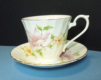 Royal Sutherland tea cup and saucer with pink yellow flowers - English teacup saucer set - Cottage chic