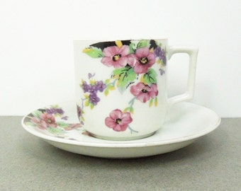 Occupied Japan purple flower demitasse and saucer set - Japanese floral espresso cup saucer - Hostess gift housewarming gift party favor