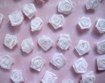 White Flowers Rosettes for sewing, crafting, scrapbooking, Embellishment, Hair accessories, Doll Clothing, 1/2 inch, 35, 55 pieces