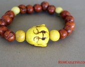 Happy Buddha and acai seeds Bracelet - Yellow and Tangerine -  yoga, yogi, namaste, mala,