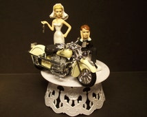 INDIAN MOTORCYCLES White Ivory Street Bike Bride and Groom Wedding Cake Topper Awesome Funny Biker