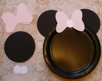 Ears and Bows ONLY Minnie Mouse DIY Craft Plate Black Circle Pale / Very Light Pink Bows DIY Kids Birthday Party Cricut Circle Shapes