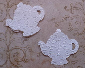 10 Embossed Teapots Die Cut pieces made from Sizzix die cut White cardstock paper