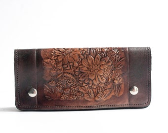 READY TO SHIP / Leather Wallet / Floral Embossed / Long Clutch