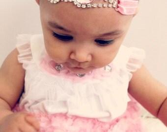 Baby Headband pink elastic rhinestone,Baby Girl Princess headband ,photo prop.
