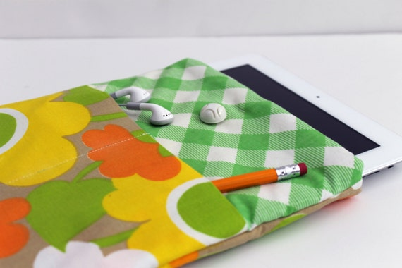 SALE Retro Floral Upcycled iPad Case