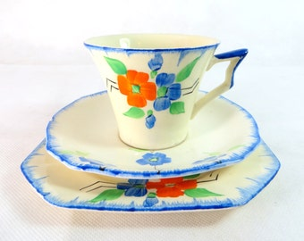 Art Deco Trio, Midwinter Porcelon Orange & Blue Flower Porcelain Cup, Saucer, Teaplate Trio Set 1940s