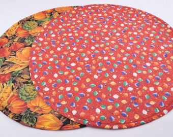 Round Table Runner for Thanksgiving / Christmas, Double-sided, Quilted, Handmade, 20''dia.