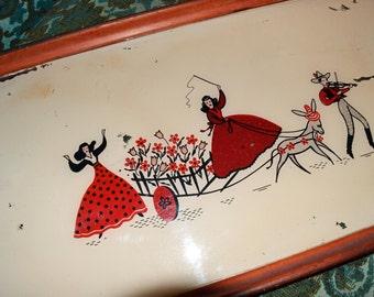 Vintage Mexican Tray Mid Century Folk Scene 123