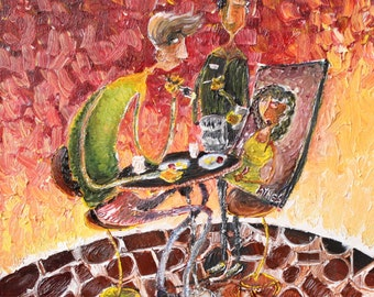 """Oil Painting 8""""x8"""" 'Out to Dinner'"""