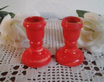 Red Candle Holder Taper Set Candlestick Pair Valentine's Day Home Decor Wedding Reception Table Decoration Cottage Cabin Romantic Country