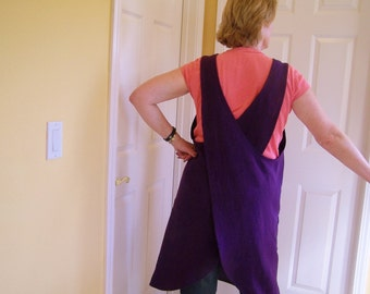 Linen Pinafore Apron, Crafters Deep Armhole Cross Back Teacher Cover Up, Gardening Apron