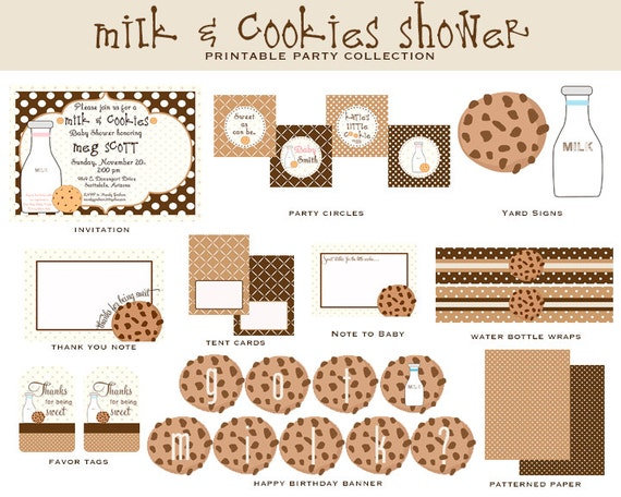 MILK & COOKIES Full Party Printable COLLECTION, Customized Cookie Shower Invitation and Decorations, Boy, Girl or Gender Neutral Shower