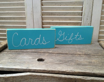Distressed Turquoise and White Cards and Gifts Wedding Sign Set Wooden Turquoise Reception Signage