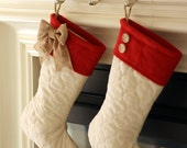 Quilted Stockings with Red Cuff - Set of Two (2)