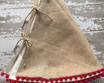Burlap Christmas Tree Skirt With Red Pom Fringe 56 Inch Diameter