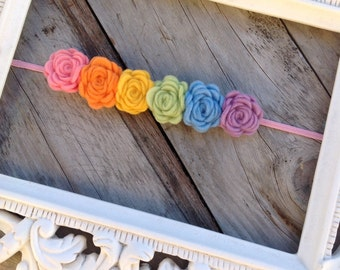 Rainbow Felt Rose Headband Felt Flower Headbands Baby Headbands Newborn Headbands Photography Props Flower Headbands Baby Girl Headbands