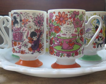 SALE///Vintage COMPLETE SET (6) of Young Lovers Kawaii Footed China TeaCups/Mugs