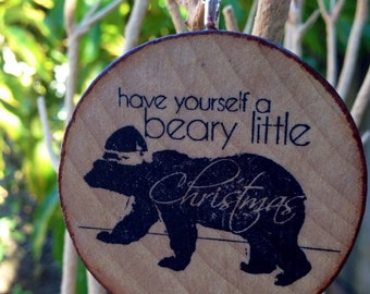 Bear Christmas Tree Ornament on Hand-Stained Wood // Silver Plated Chain // Stocking Stuffer