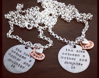 Love Between Mother Daughter Hand Stamped Necklace