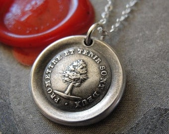 Keep Promise - wax seal necklace with tree - antique French motto wax seal jewelry