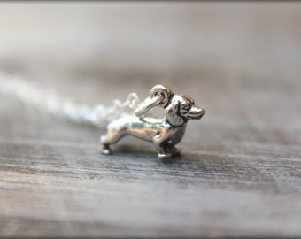 Itty Bitty Dachshund Necklace in Sterling Silver