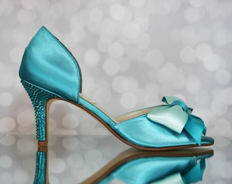 Wedding Shoes -- Tornado Blue D'Orsay Peep Toe Wedding Shoes with Two Toned Bow and Swarovski Heel