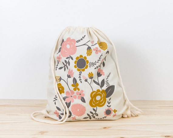 Flowers - screen printed canvas backpack tote