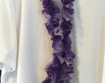Shades of Purple Crocheted Ruffle Scarf