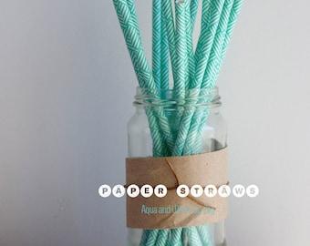 25 Aqua and White Zig Zag Paper Straws - Standard 7.75'' / 19.68cm