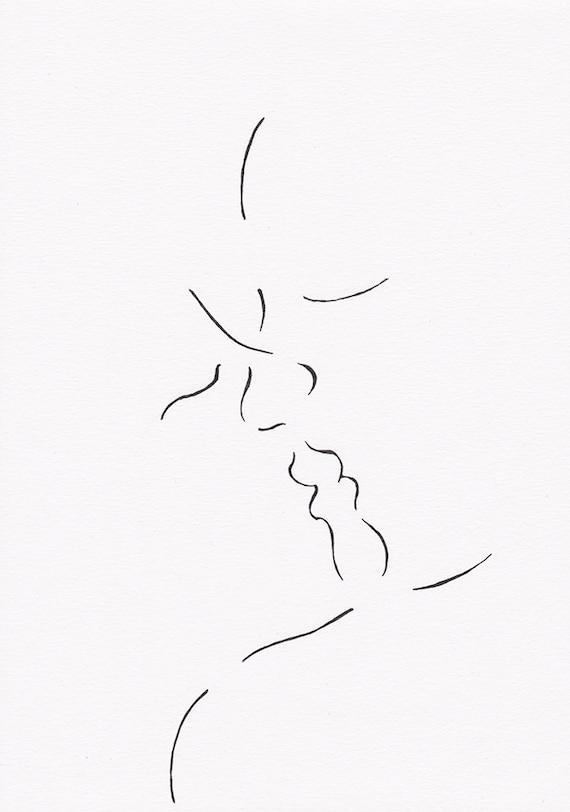 Line Art Kiss : Romantic lovers kiss illustration original ink pen line
