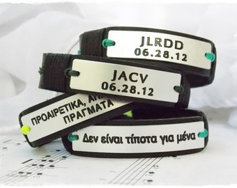 Personalized Leather Bracelet, Initials Leather Bracelet, His & Hers Leather Bracelet, Engraved Leather Bracelet, Custom Initial Bracelet
