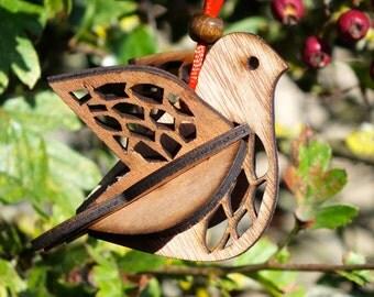 christmas hanging dove decoration, laser cut / lasercut plywood