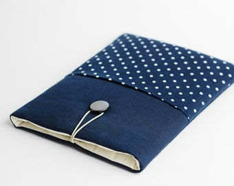 Macbook Pro 15 inch case, Macbook Pro with Touch Bar sleeve, Macbook Pro 15 sleeve, blue, polka dot
