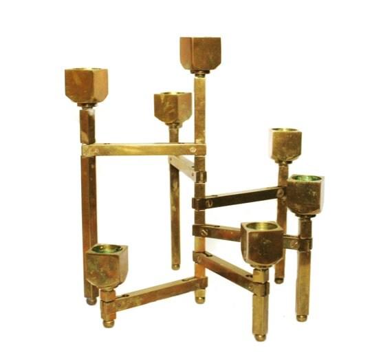 Articulated candle holder. Danish Modern. Mid Century. MCM candelabra. brass