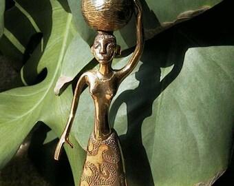 Vintage Cast Brass African Woman Sculpture w/ Jug on Head / Topless & Skirt
