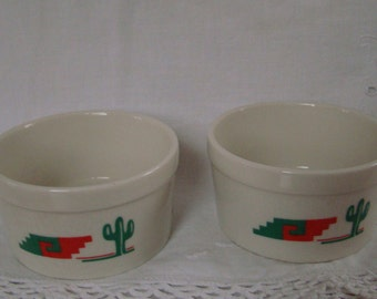 Two Vintage Southwest Cactus Dishes