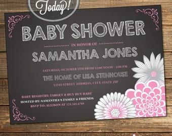 Chalkboard Baby Shower, Baby Shower Invitation, Pink, Gray, Grey, Slate, Floral, Flowers, Girl, Printable (Custom Order, INSTANT DOWNLOAD)
