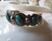 Mid Century NAVAJO Sterling and TURQUOISE Trade BRACELET