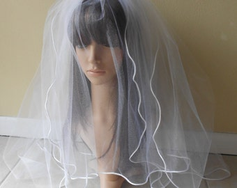 White Two Layer Wedding Veil With Pencil Edge Trim,Blusher Bridal Veil