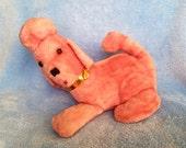 Vintage kitsch pink poodle plush straw filled radio